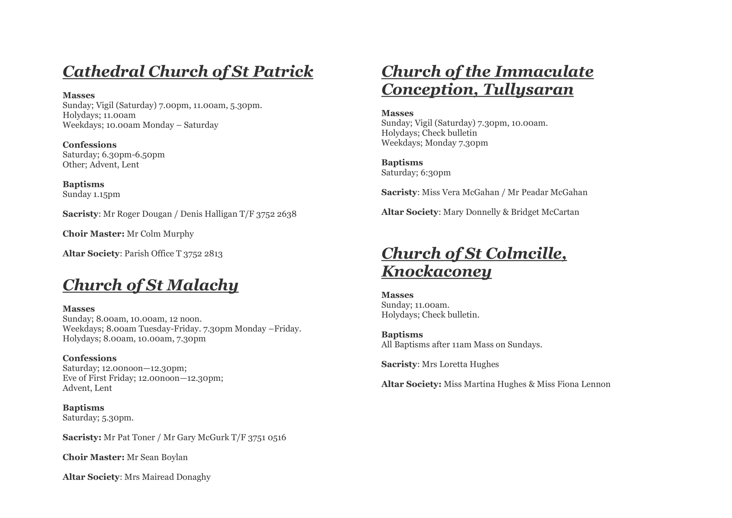 Mass Times & Services | St Patrick's Cathedral Parish Armagh